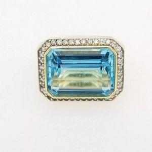 DAVID YURMAN NOVELLA RING DIAMOND BLUE TOPAZ 18K